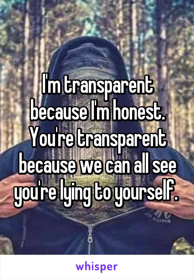 I'm transparent because I'm honest. You're transparent because we can all see you're lying to yourself.