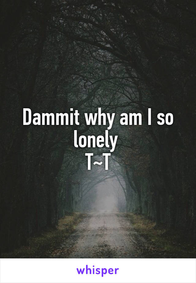 Dammit why am I so lonely  T~T