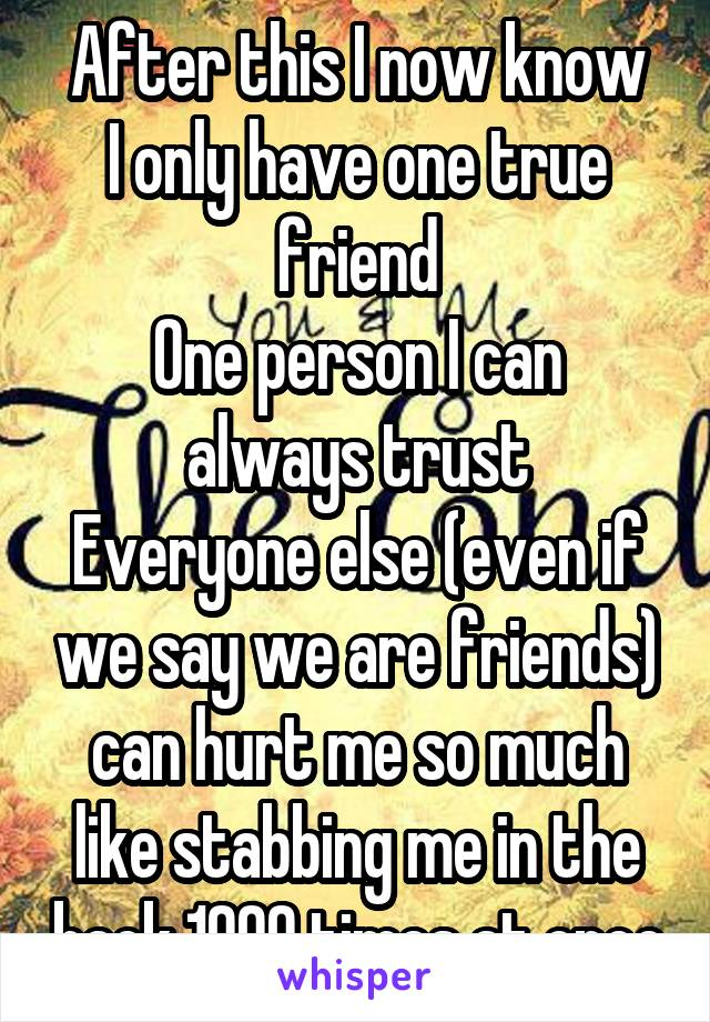 After this I now know I only have one true friend One person I can always trust Everyone else (even if we say we are friends) can hurt me so much like stabbing me in the back 1000 times at once