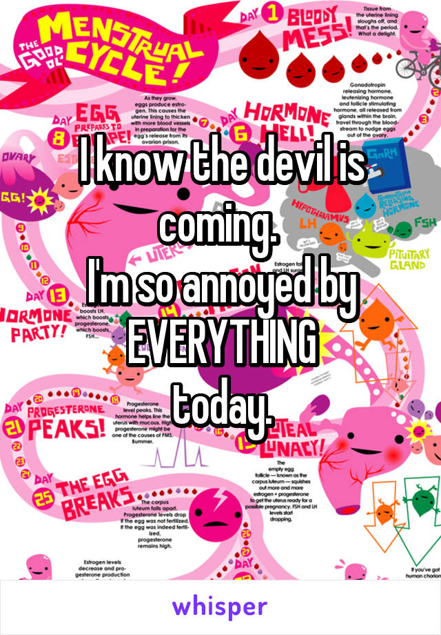 I know the devil is coming.  I'm so annoyed by EVERYTHING today.