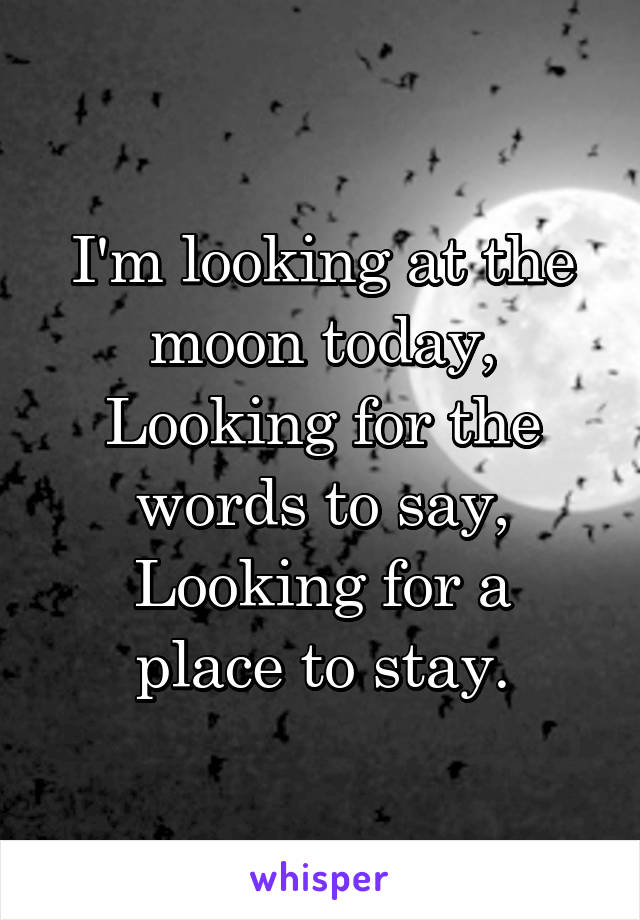 I'm looking at the moon today, Looking for the words to say, Looking for a place to stay.
