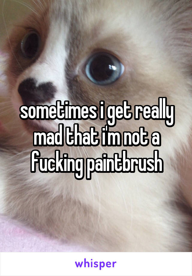 sometimes i get really mad that i'm not a fucking paintbrush