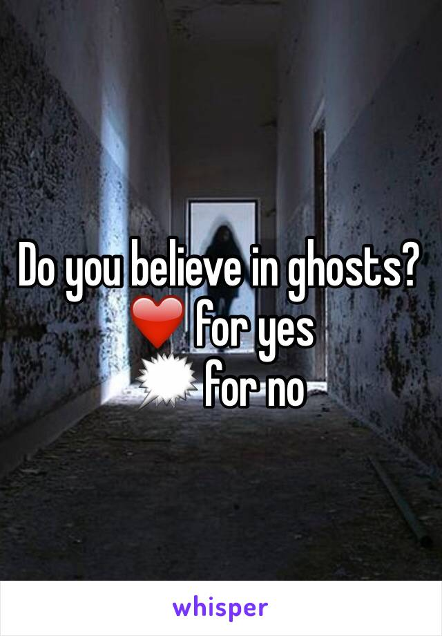 Do you believe in ghosts?  ❤️ for yes 🗯 for no