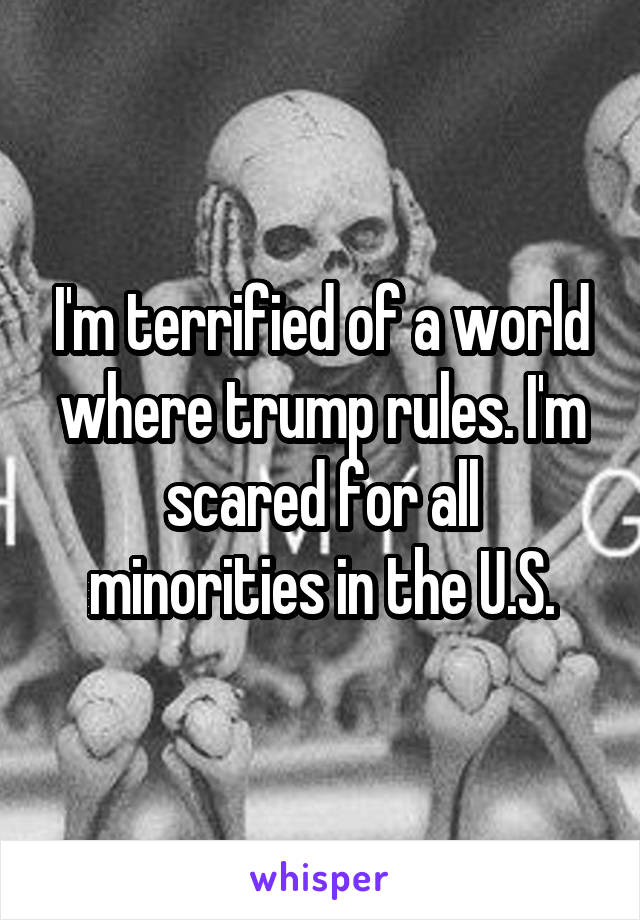 I'm terrified of a world where trump rules. I'm scared for all minorities in the U.S.