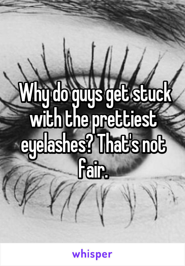 Why do guys get stuck with the prettiest eyelashes? That's not fair.