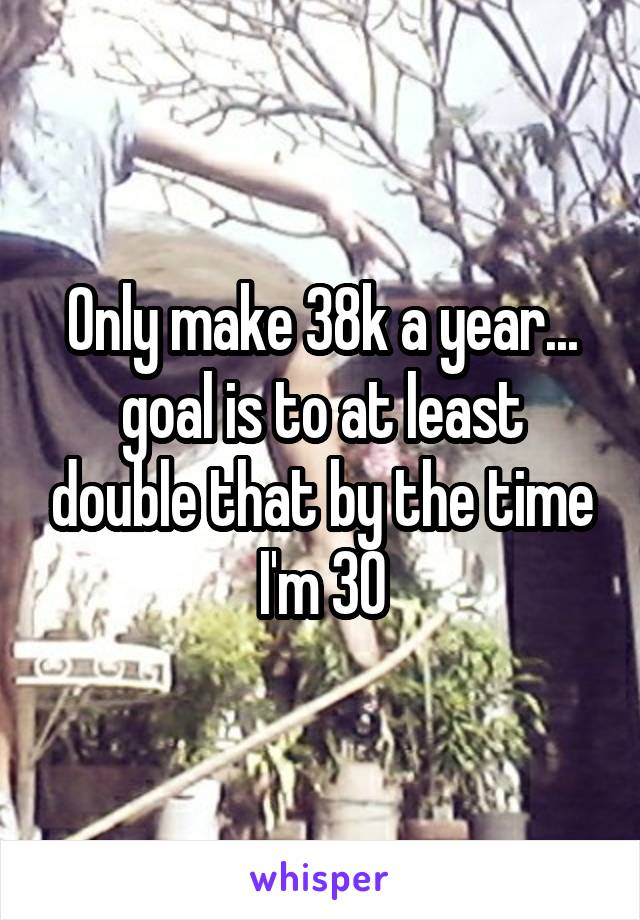 Only make 38k a year... goal is to at least double that by the time I'm 30