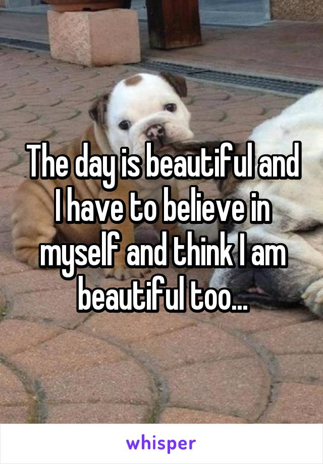 The day is beautiful and I have to believe in myself and think I am beautiful too...