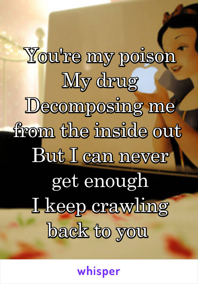 You're my poison My drug Decomposing me from the inside out  But I can never get enough I keep crawling back to you