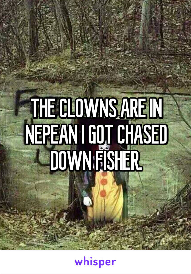 THE CLOWNS ARE IN NEPEAN I GOT CHASED DOWN FISHER.