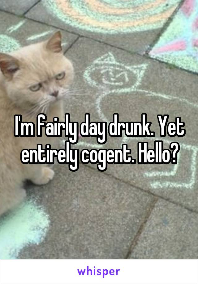 I'm fairly day drunk. Yet entirely cogent. Hello?