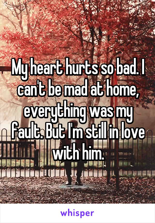My heart hurts so bad. I can't be mad at home, everything was my fault. But I'm still in love with him.
