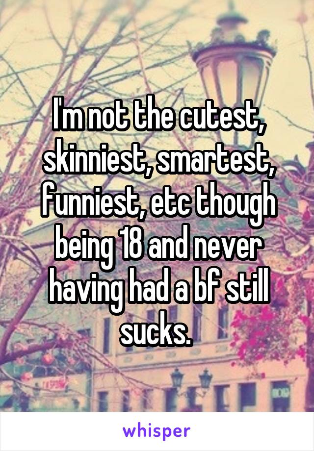 I'm not the cutest, skinniest, smartest, funniest, etc though being 18 and never having had a bf still sucks.