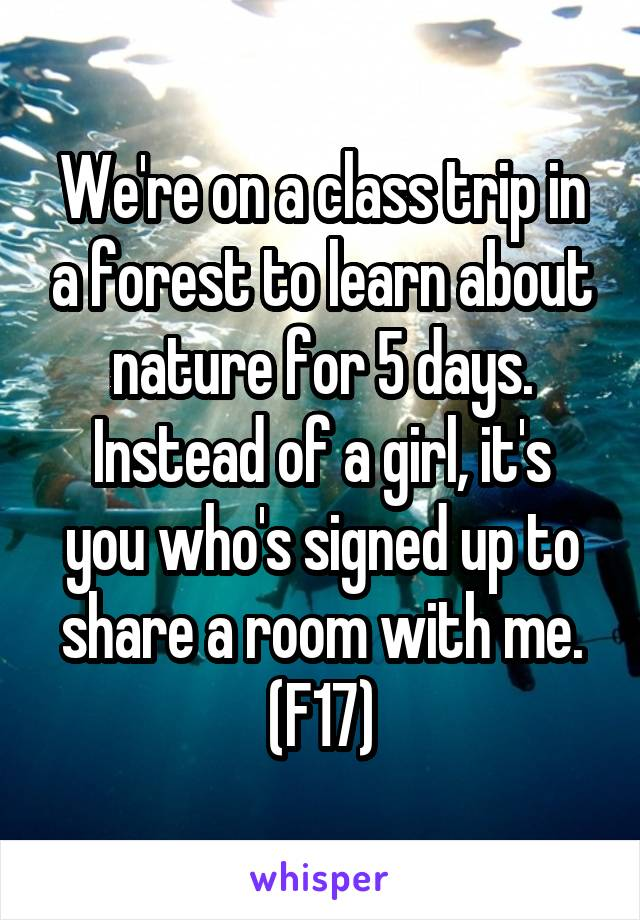 We're on a class trip in a forest to learn about nature for 5 days. Instead of a girl, it's you who's signed up to share a room with me. (F17)