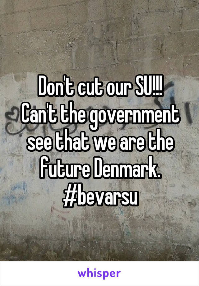 Don't cut our SU!!! Can't the government see that we are the future Denmark. #bevarsu
