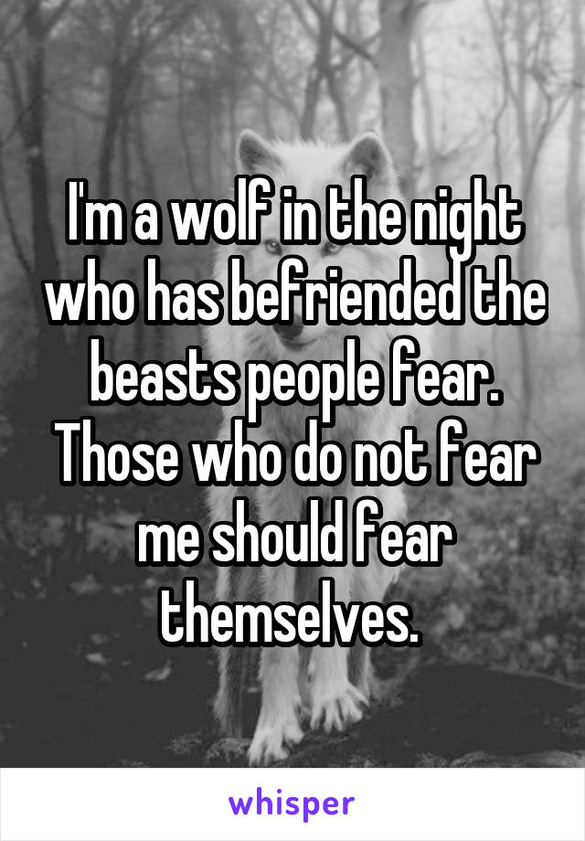 I'm a wolf in the night who has befriended the beasts people fear. Those who do not fear me should fear themselves.