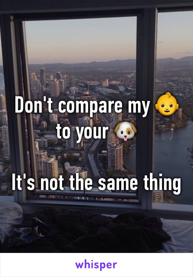 Don't compare my 👶 to your 🐶   It's not the same thing