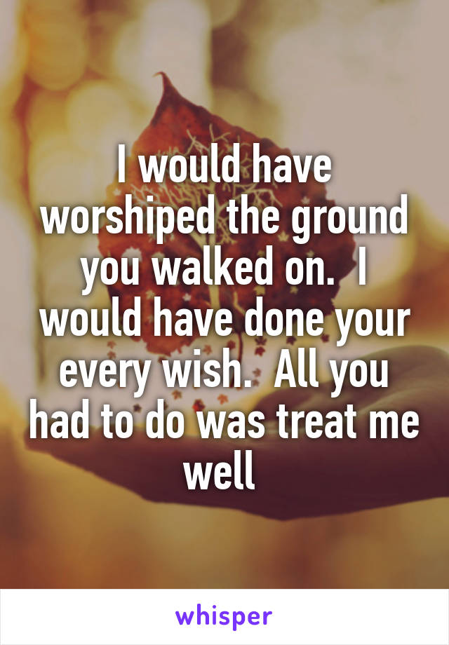 I would have worshiped the ground you walked on.  I would have done your every wish.  All you had to do was treat me well