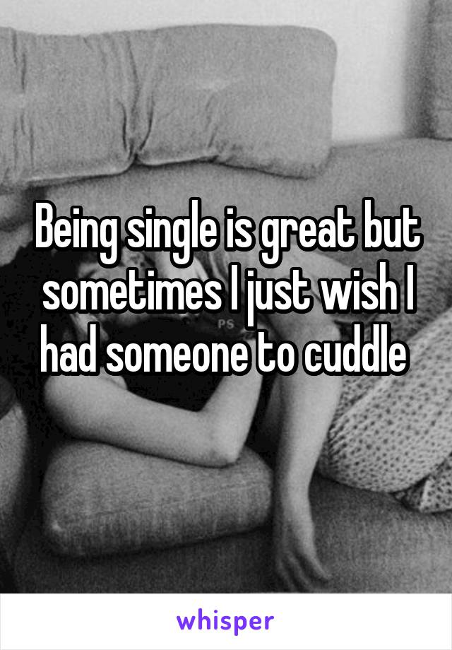 Being single is great but sometimes I just wish I had someone to cuddle