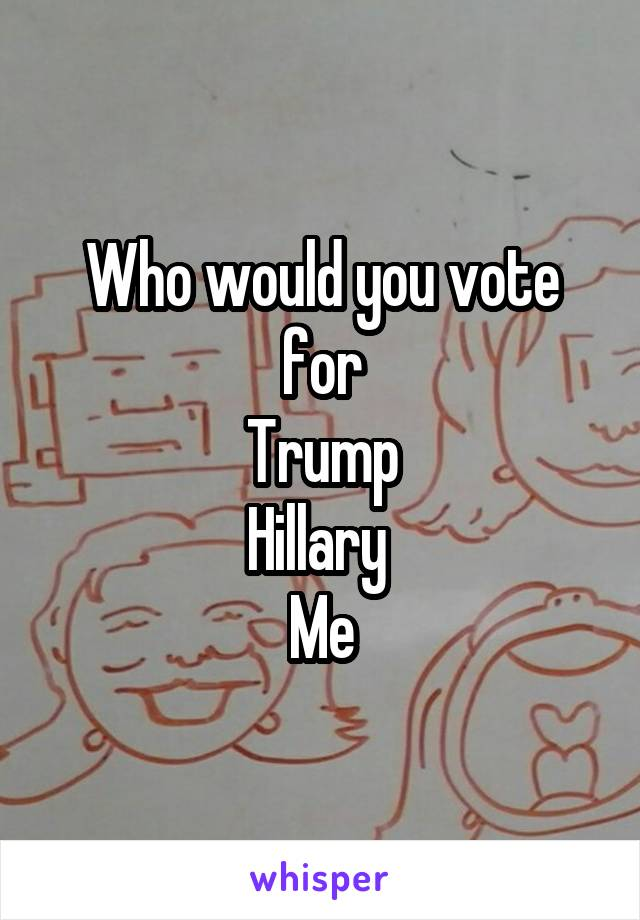 Who would you vote for Trump Hillary  Me