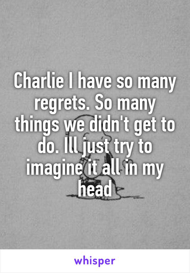 Charlie I have so many regrets. So many things we didn't get to do. Ill just try to imagine it all in my head