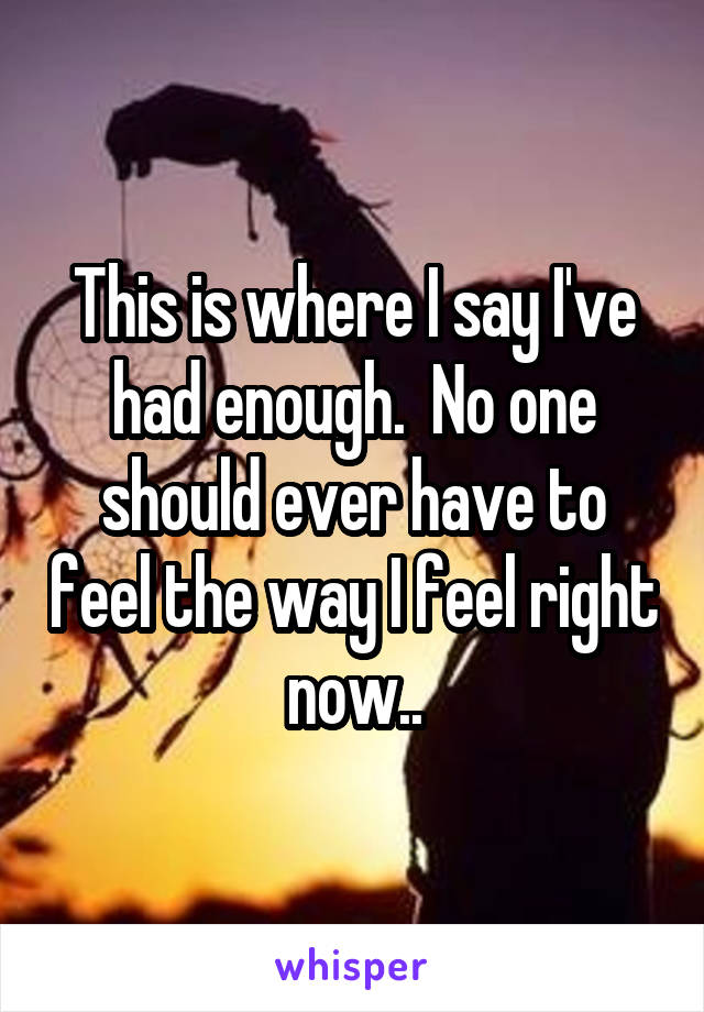 This is where I say I've had enough.  No one should ever have to feel the way I feel right now..
