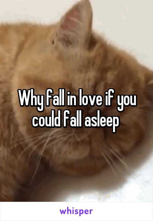 Why fall in love if you could fall asleep