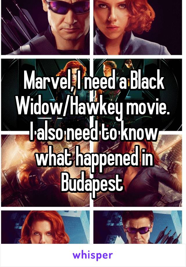 Marvel, I need a Black Widow/Hawkey movie.  I also need to know what happened in Budapest