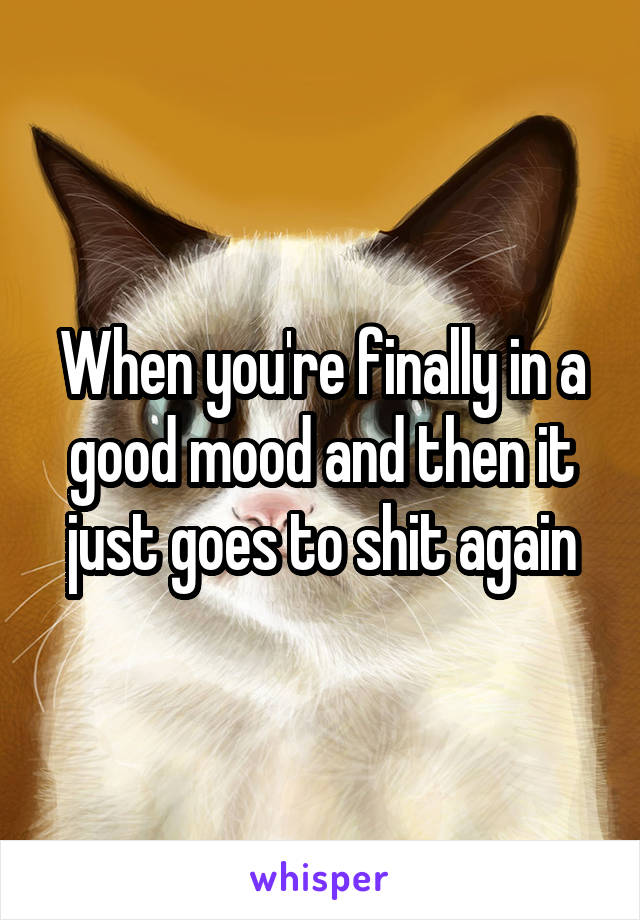 When you're finally in a good mood and then it just goes to shit again