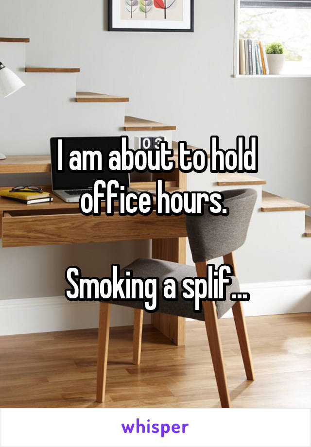 I am about to hold office hours.   Smoking a splif...