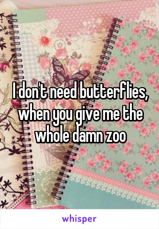 I don't need butterflies, when you give me the whole damn zoo