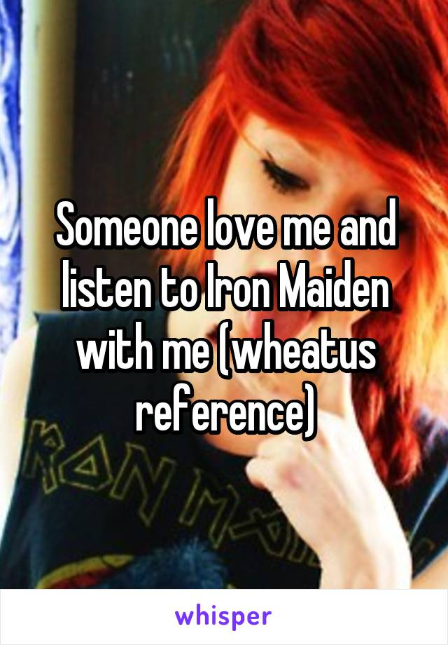 Someone love me and listen to Iron Maiden with me (wheatus reference)