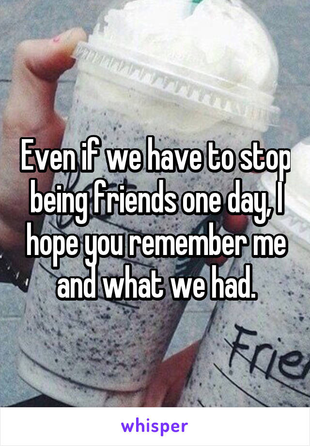 Even if we have to stop being friends one day, I hope you remember me and what we had.