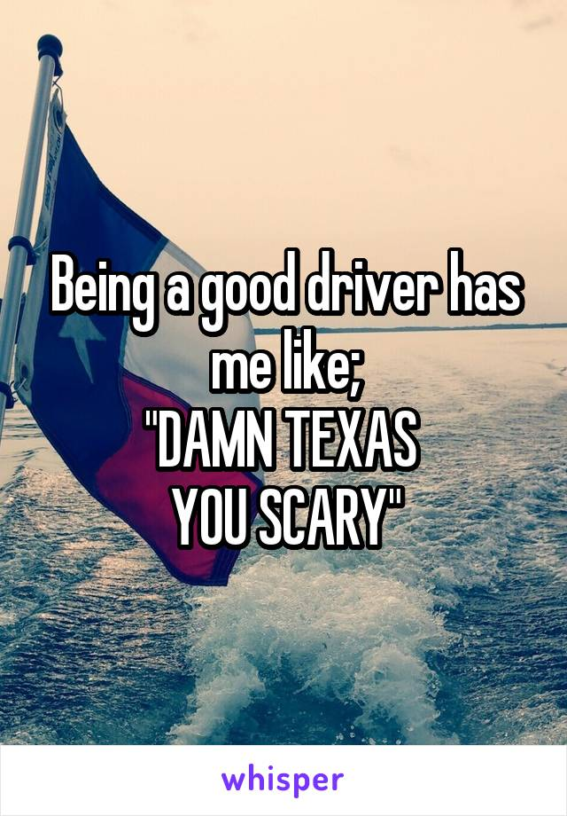 "Being a good driver has me like; ""DAMN TEXAS  YOU SCARY"""