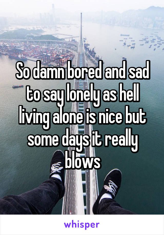 So damn bored and sad to say lonely as hell living alone is nice but some days it really blows
