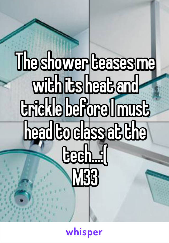 The shower teases me with its heat and trickle before I must head to class at the tech...:( M33