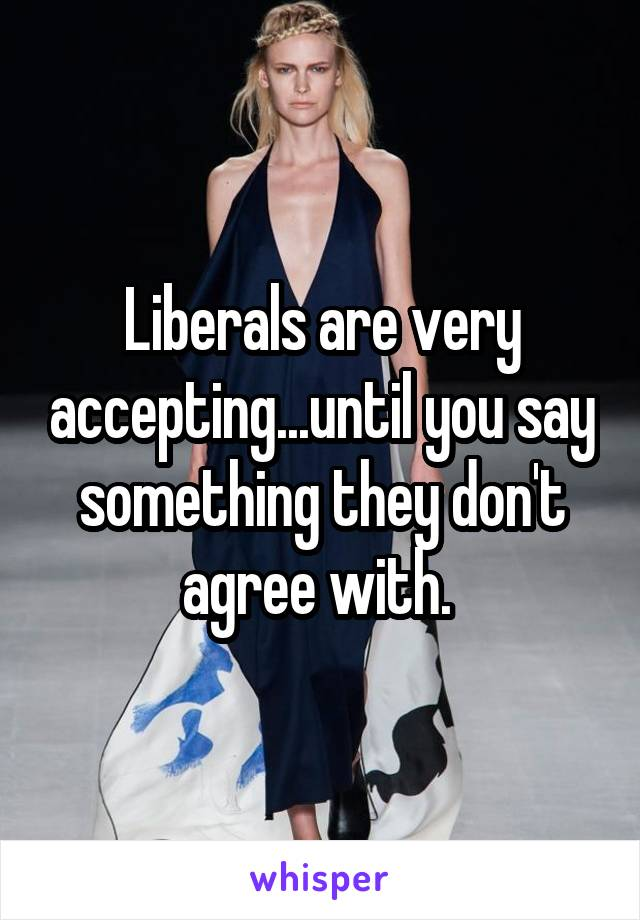 Liberals are very accepting...until you say something they don't agree with.