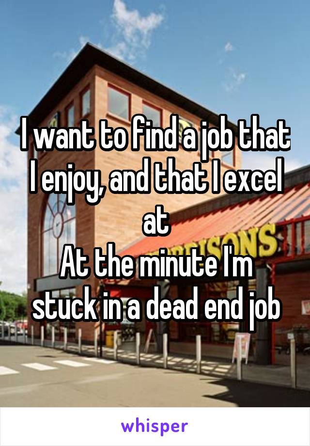I want to find a job that I enjoy, and that I excel at At the minute I'm stuck in a dead end job