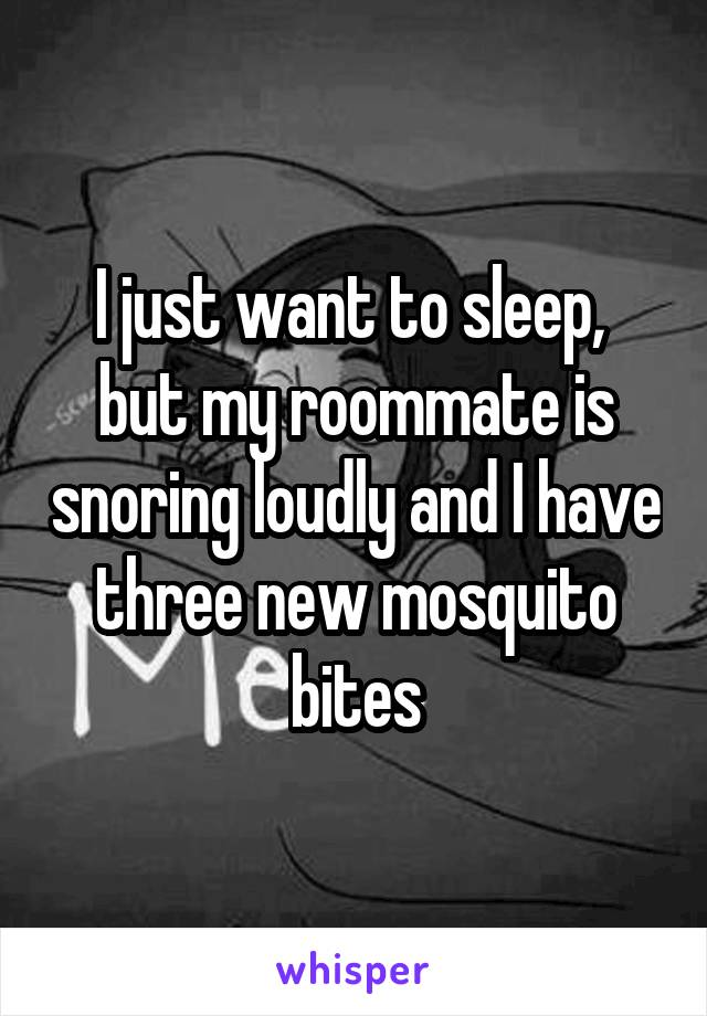 I just want to sleep,  but my roommate is snoring loudly and I have three new mosquito bites