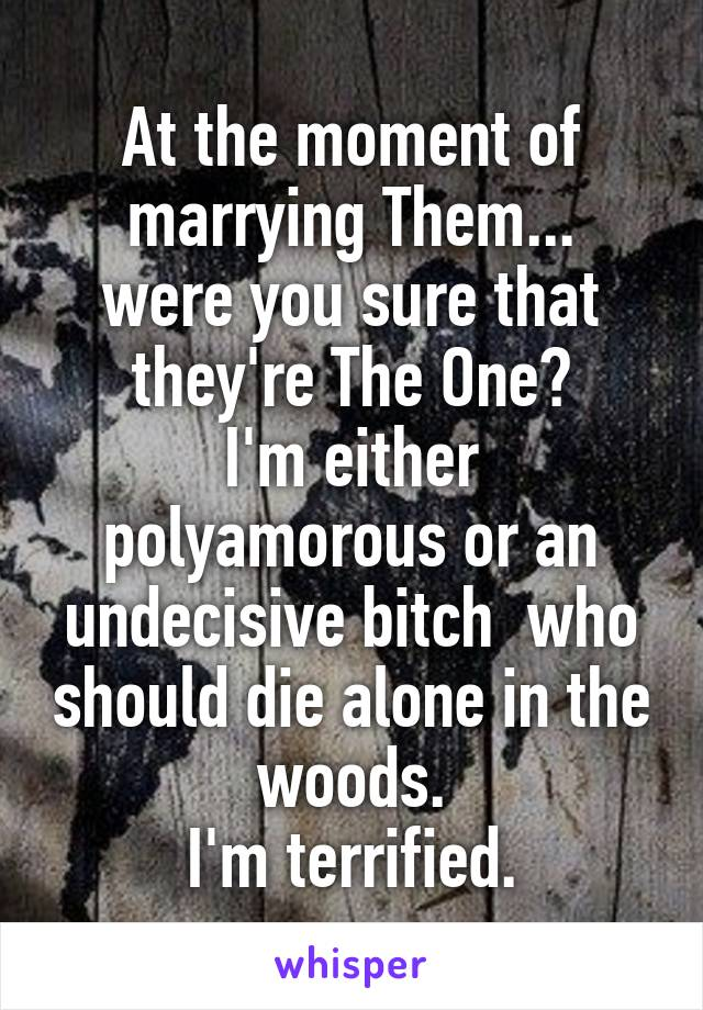 At the moment of marrying Them... were you sure that they're The One? I'm either polyamorous or an undecisive bitch  who should die alone in the woods. I'm terrified.