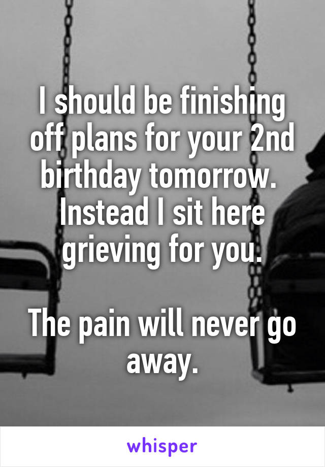 I should be finishing off plans for your 2nd birthday tomorrow.  Instead I sit here grieving for you.   The pain will never go away.