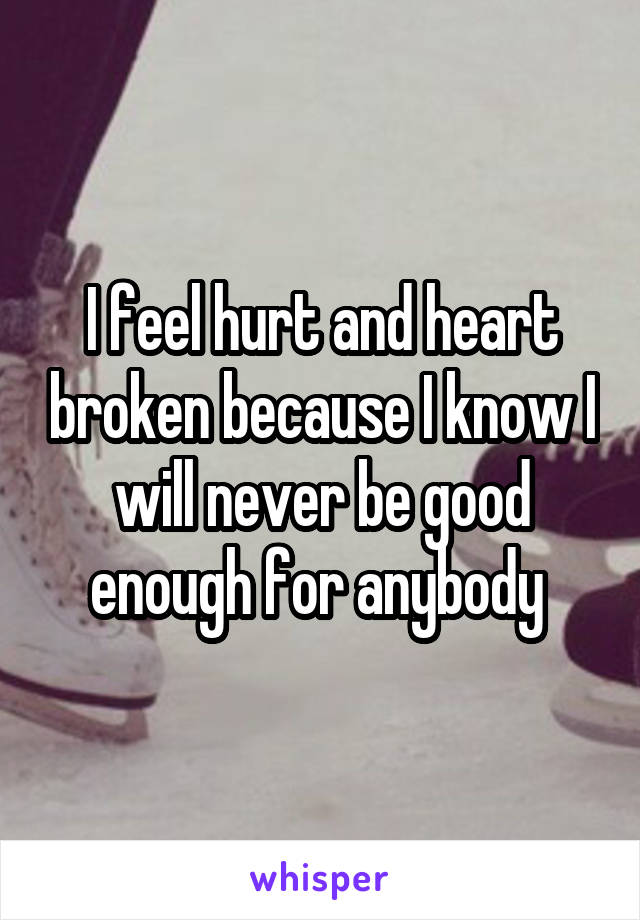 I feel hurt and heart broken because I know I will never be good enough for anybody
