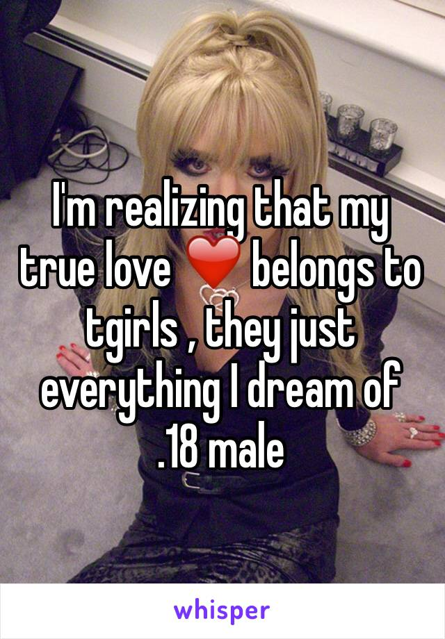 I'm realizing that my true love ❤️ belongs to tgirls , they just everything I dream of  .18 male