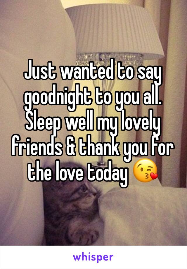 Just wanted to say goodnight to you all.  Sleep well my lovely friends & thank you for the love today 😘