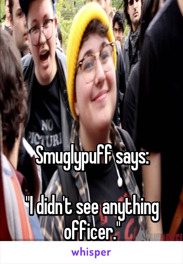 """Smuglypuff says:  """"I didn't see anything officer."""""""