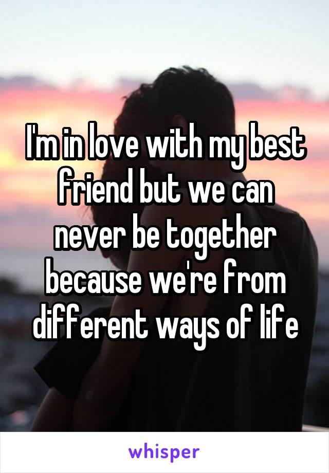 I'm in love with my best friend but we can never be together because we're from different ways of life