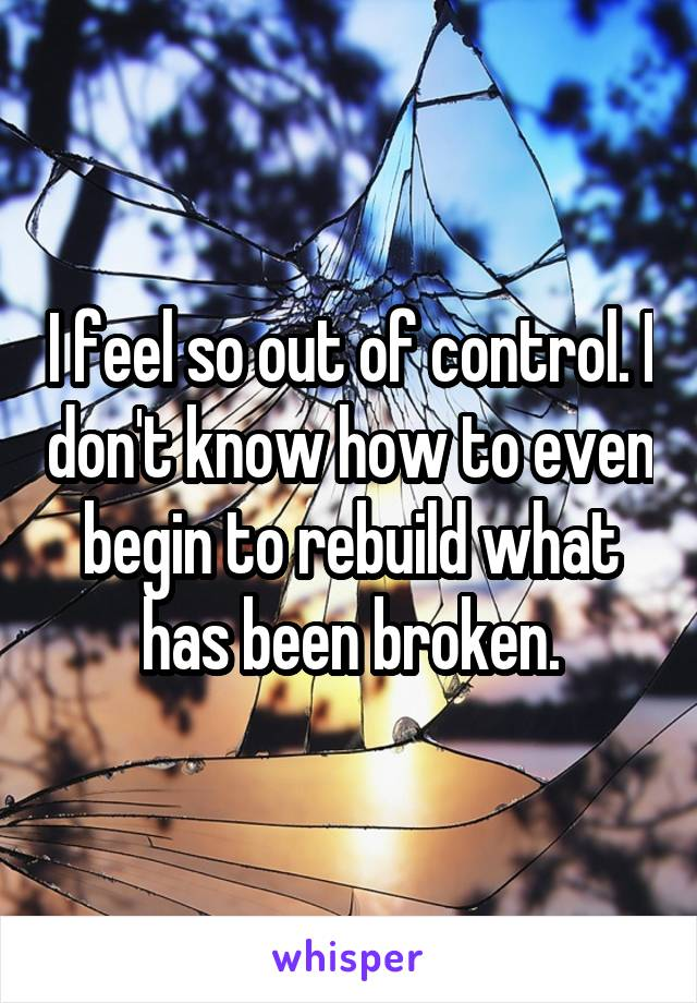 I feel so out of control. I don't know how to even begin to rebuild what has been broken.