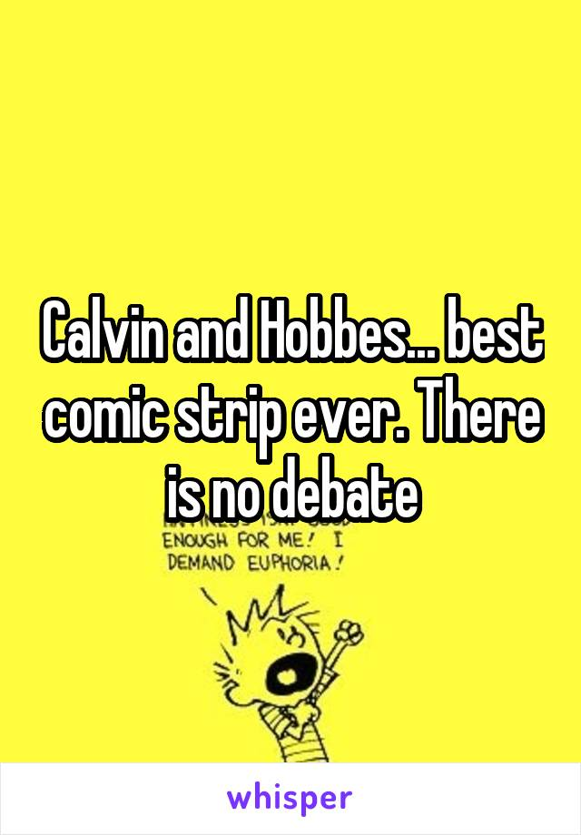 Calvin and Hobbes... best comic strip ever. There is no debate