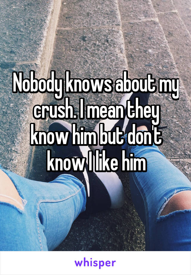 Nobody knows about my crush. I mean they know him but don't know I like him