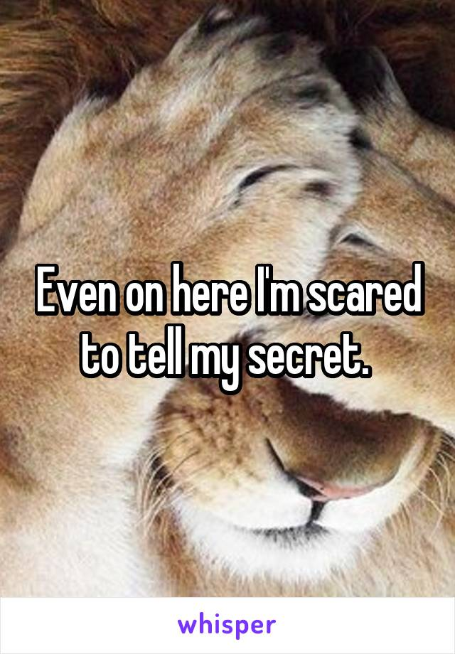 Even on here I'm scared to tell my secret.