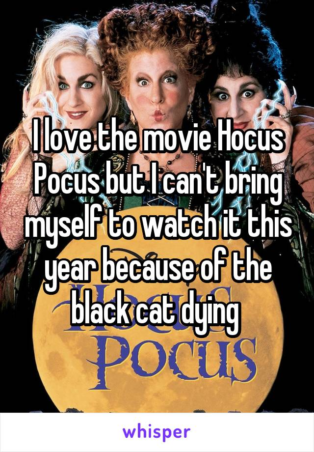 I love the movie Hocus Pocus but I can't bring myself to watch it this year because of the black cat dying